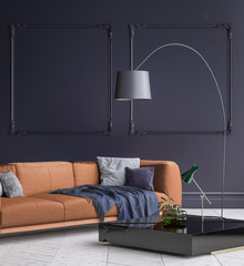 Luxury modern dark blue living room interior with white parquet floor, brown sofa, floor lamp and coffee table , 3d render