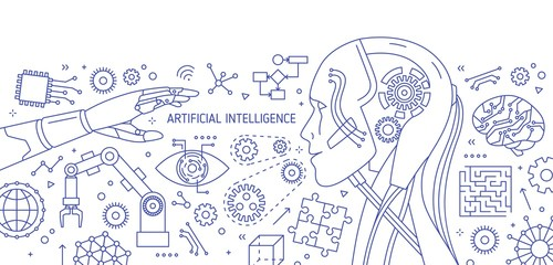 Horizontal monochrome banner with robot, robotic arm, integrated circuits, hi-tech devices drawn with contour lines on white background. Artificial intelligence. Vector illustration in lineart style.