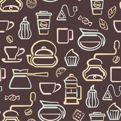Vector seamless pattern with coffee and tea elements. Suitable for wallpaper, wrapping or textile