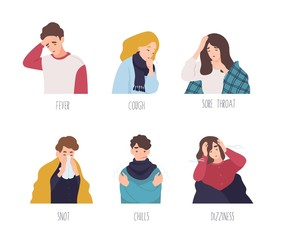 Male and female cartoon characters demonstrating symptoms of common cold - fever, cough, sore throat, snot, chills, dizziness. Collection of sick or ill men and women. Flat vector illustration.