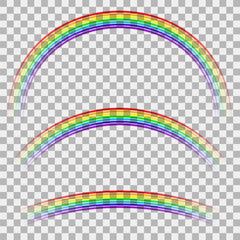 Curved Colorful Rainbow on Checkered Background. Transparent Weather Icon. Spectrum Colored Pattern