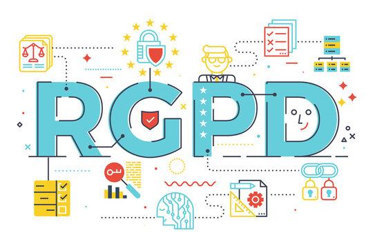 European GDPR (General Data Protection Regulation) word concept  illustration in Spanish abbreviation (RGPD)