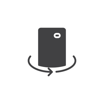 Mobile camera rotate vector icon. filled flat sign for mobile concept and web design. Cell Phone 360 degrees simple solid icon. Symbol, logo illustration. Pixel perfect vector graphics