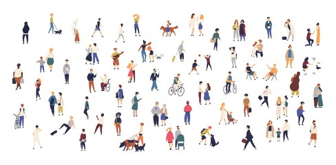 Crowd of tiny people walking with children or dogs, riding bicycles, standing, talking, running. Cartoon men and women performing outdoor activities on city street. Flat colorful vector illustration. Fototapete