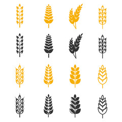 Black and yellow wheat ears silhouettes vector icons