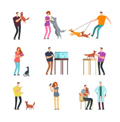 Happy people pet owner. Man, women and family training and playing with pets vector cartoon characters isolated