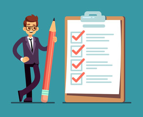 Fototapeta Businessman holding pencil at big complete checklist with tick marks. Business organization and achievements of goals vector concept