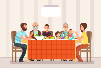 Big happy family eating lunch together in living room cartoon vector illustration