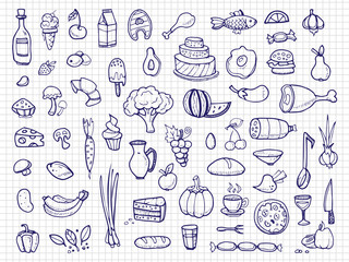 Hand drawn food, vegetables, drinks, snacks, fast food doodle vector icons