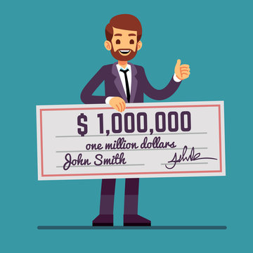 Young happy man holding money prize check for one million dollars. Cash lottery winnings and success vector concept