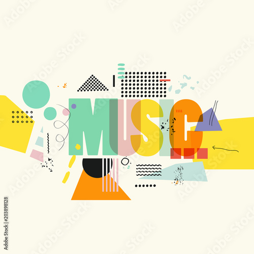 Music Typographic Colorful Background Vector Illustration