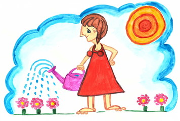 Watercolor painting in the style of surrealism. The girl is watering flowers from the watering can.