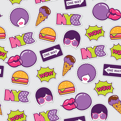 trendy pop art seamless american pattern with patches and stickers