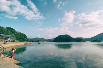 長崎県五島列島の風景と女性 girls portrait with island's landscape