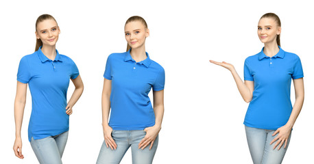 Set promo pose girl in blank blue polo shirt mockup design for print and concept template young woman in T-shirt front and half turn side view isolated white background with clipping path
