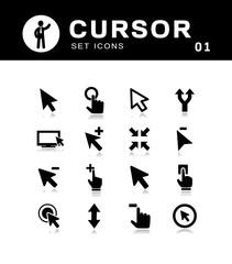 Computer mouse click cursor arrow icons set.