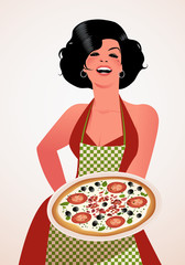 Beautiful Italian cook showing a plate of tomato, olives and cheese pizza. She wears red dress and green checkered apron.