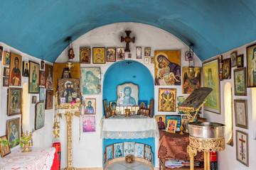 Interior of a small greek orthodox chapel by the sea near Chania in Crete, Greece