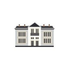 City element of two-storey apartment or public building front view in flat style isolated on white background - house exterior for real estate and property concept. Vector illustration.