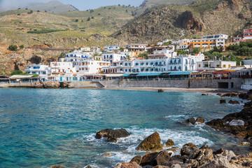 Scenic village of Hora Skafion and the mediterranean sea  in Crete, Greece