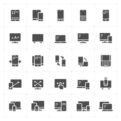 Icon set - device and responsive solid icon style vector illustration on white background