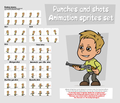 Cartoon boy character animation sprites sheet set