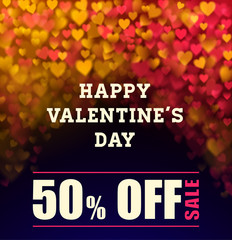 Valentines day sale background with blurred light hearts, sale and discount 50% in Valentines day holiday. vector illustration