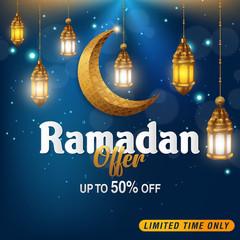 ramadan season sale poster design in islamic style