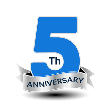 Vector 5 years anniversary, blue number with silver ribbon