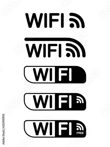 Vector Black Wifi Icon Isolated On White Background Symbol For