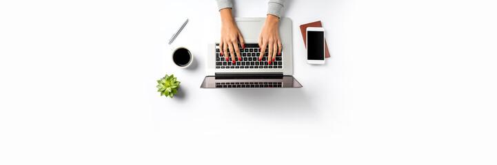 Office desktop. Top view