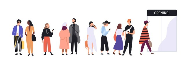 Wall Mural - Men and women dressed in trendy clothes standing in line or queue in front of shop entrance doors. Stylish people waiting for store, boutique or showroom opening. Flat cartoon vector illustration.