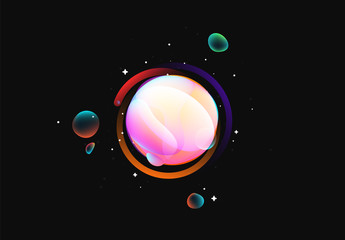 Fluid colorful gradient round shapes. Liquid splash bubble. Modern abstract art. Isolated on a black background