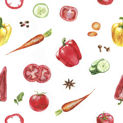 Hand drawn watercolor seamless pattern with red, yellow peppers, carrot, tomato and cucumber on the white background.