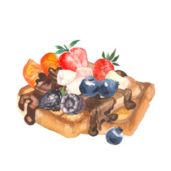 Delicious crispy Viennese waffles with berry and chocolate painting by watercolor on white background, hand drawn illustration