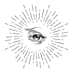 Hand-drawn Eye of Providence masonic symbol, all seeing eye, conspiracy theory, alchemy, religion, spirituality, print or tattoo design vector illustration.
