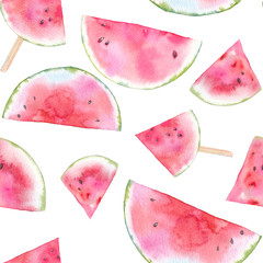 Watercolor watermelon seamless pattern. Hand painted texture with summer fruit on white background. Healthy food wallpaper design