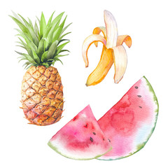 Watercolor exotic fruit set. Hand drawn banana, pineapple and watermelon illustration. Healhty food objects isolated on white background. Summer clip art