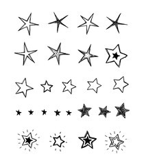 Hand drawn collection of stars. Doodle stars vector illustration isolated on white background.