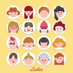 ladies-and-gentlemen-previewPeople Vector Illustration, Vector Flat Character Faces, Cute Avatar Collection, Flat Design, Various Age Group Character Concept, Modern Web Icon Set