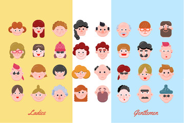 ladies-and-gentlemePeople Vector Illustration, Vector Flat Character Faces, Cute Avatar Collection, Flat Design, Various Age Group Character Concept, Modern Web Icon Setn-preview