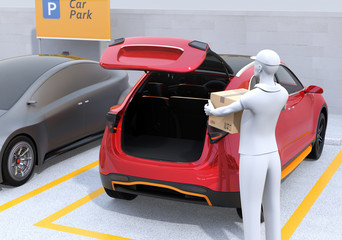 Delivery staff carrying cardboard boxes to red car trunk. Concept for car trunk delivery service. 3D rendering image.