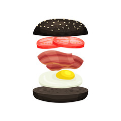 Burger from black bun with sesame, fresh tomatoes, bacon and fried egg. Tasty fast food. Flat vector design for promo poster, mobile app or menu
