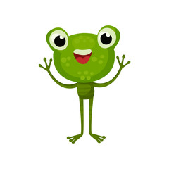 Adorable frog with cheerful face expression. Cartoon character of friendly green toad with paws up. Flat vector for children book