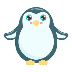 Cute penguin vector illustration. Flat design.