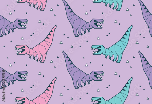 Vector Seamless Pattern With Blue And Pink Origami Dinosaurs T Rex Cartoon Tiles