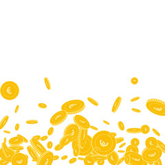 European Union Euro coins falling. Scattered floating EUR coins on white background. Pleasing scatter bottom gradient vector illustration. Jackpot or success concept.