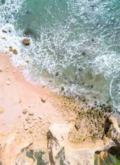 Wall Mural - Sandy beach and ocean. Drone shot