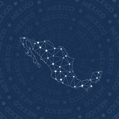 Mexico network, constellation style country map. Remarkable space style, modern design. Mexico network map for infographics or presentation.