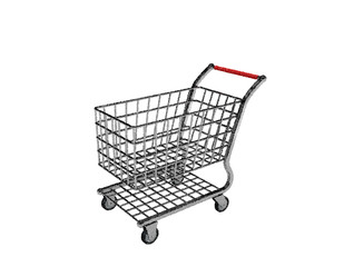 Empty shopping cart. Isolated on white background. Vector illustration.